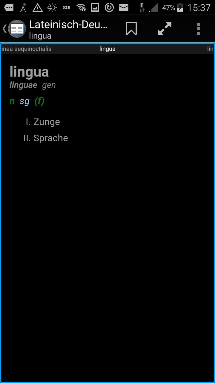 Screenshot of the Aard Android dictionary client
